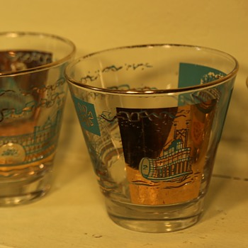 Set of Cocktail Glasses with Riverboat Theme - George Briard? - Glassware