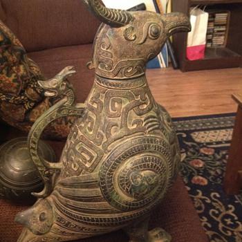 Mythical bird/dragon ? Pitcher metal? - Bottles
