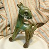 1944 TURQUOISE BLENDED GLAZE STYLIZED FAWN BROWN CLAY ART POTTERY FIGURE