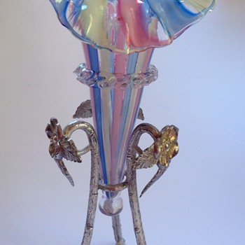 Victorian pink, blue, & white striped glass epergne trumpet - Art Glass