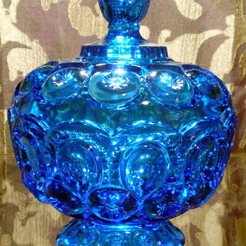 Blue L. E. Smith Moon & Stars Candy Dish with Pedestal Base and Lid - Glassware