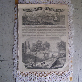 ACTUAL VINTAGE EDWARDIAN NEWSPAPER,  GLEASON'S PICTORIAL, BOSTON, SATURDAY,NOVEMBER 25th. 1854