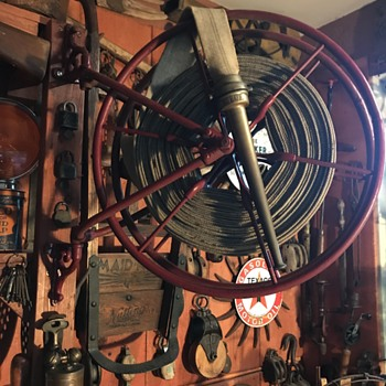 Vintage Firefighting Reel and Hose - Firefighting