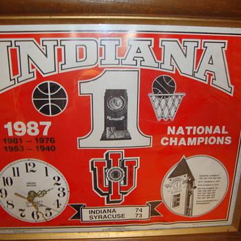 INDIANA UNIVERSITY BASKETBALL CLOCK...1987 NATIONAL CHAMPIONS - Advertising