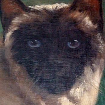 Vintage Oil of A Siamese Cat By W. Perrott - Fine Art