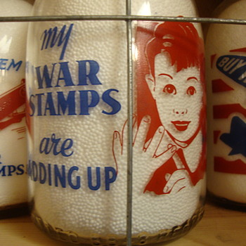 MY WAR STAMPS ARE ADDING UP...RED/BLUE QUART FROM SUPREME MILK  - Bottles
