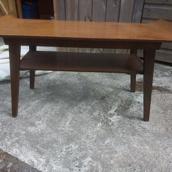 Vintage retro teak mid century table 81cm long with a curled table top and second shelf coffee table