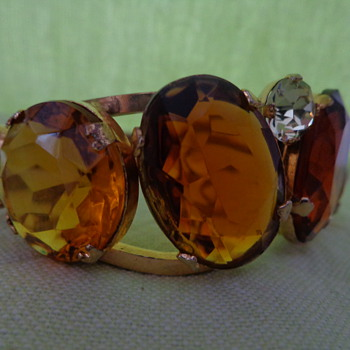 Clamper Bracelet with Large Glass Stones - Costume Jewelry