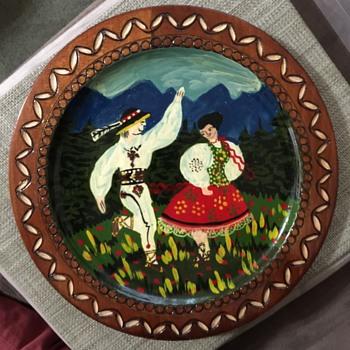 Painted Wooden ZAKOPAN? Plate - Folk Art