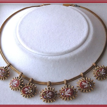 Fine Vintage Antique Doves Festoon Micro Mosaic  Choker Necklace (gold??) - Fine Jewelry