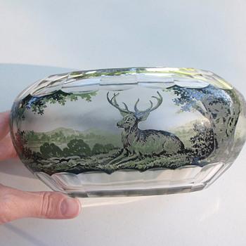 Amazing acid cut cameo bowl, monochrome, not signed (French? Bohemian?) - Art Glass