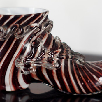 "Welz Twisted Burgundy Pinstripe - Papa's Got A New Shoe – But James Brown Said He Had A ""New Pair""   - Art Glass"