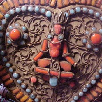 Nepal Nepalese Gau or Tibetan ? Turquoise Coral Beaded Jewelry Box