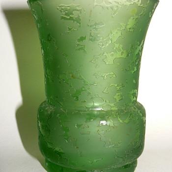 green corroso vase - Art Glass
