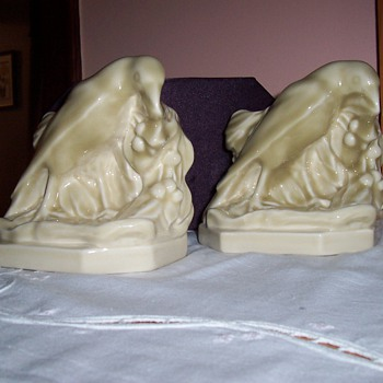Rookwood Bookends with Engineering Society Logo - Pottery