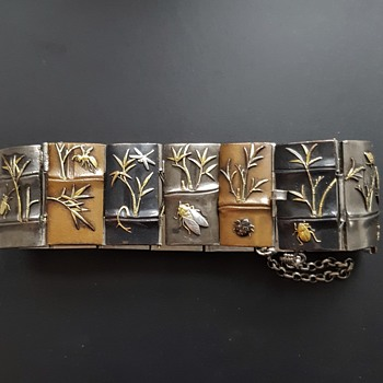 Vintage/antique shakudo insects and plants bracelet. - Animals