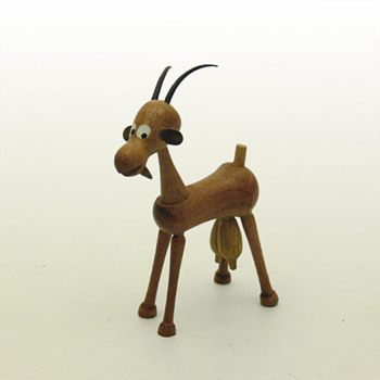 Donkey, Bull and Goat wooden figurines (Spain, 1960s) - Animals