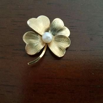 Gold Four Leaf Clover with Faux Pearl - Costume Jewelry