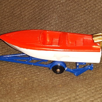 Modern Mainly Maritime Matchbox Monday MB 48 Sports Boat With Trailer 1961-1966 - Model Cars
