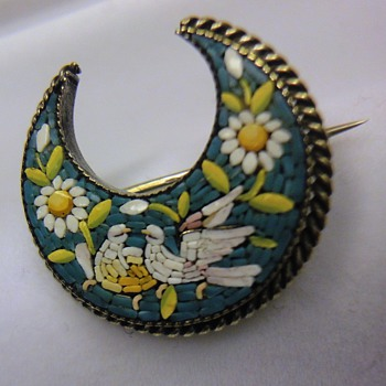 Micro Mosaic crescent moon dove brooch