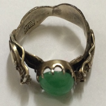 Chinese Silver and Jade Double Dragon Ring - Fine Jewelry