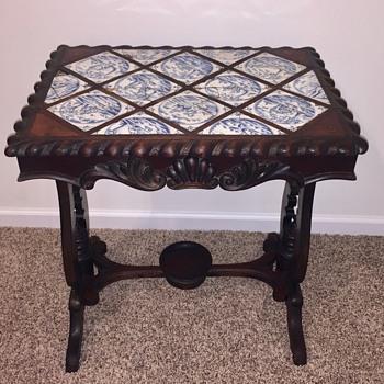 Antique Side Table Delft Tile Top - Furniture
