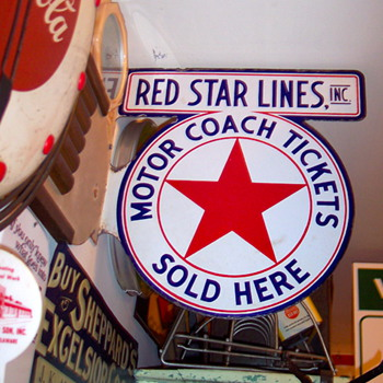 RED STAR MOTOR COACH PORCELAIN SIGN - Advertising