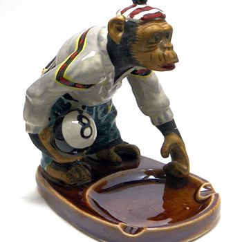 Chimpanzee w/8-Ball Ashtray - Tobacciana