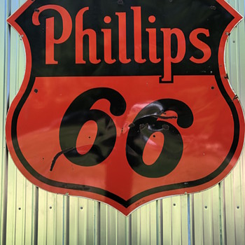 Rare 1955 Phillips 66 Diecut Double Sided Porcelain - Petroliana