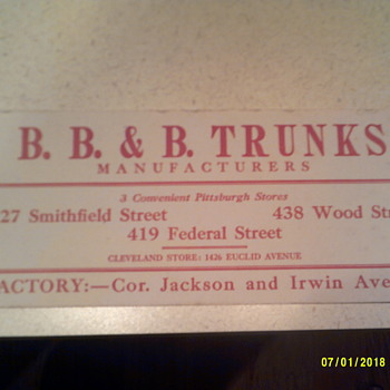 B. B. & B. TRUNK Co. ink blotter - Office
