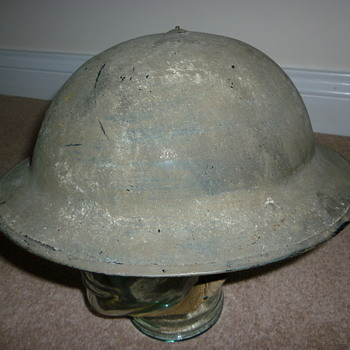 British WW11 Royal Air Force cammo painted helmet