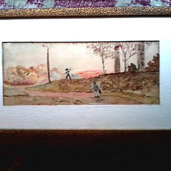 "Folk Art Watercolor Landscape / 11"" x 19"" Framed / Circa 19th Century - Folk Art"