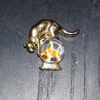 Crown Trifari Cat Over Fish Bowl Pin - Costume Jewelry
