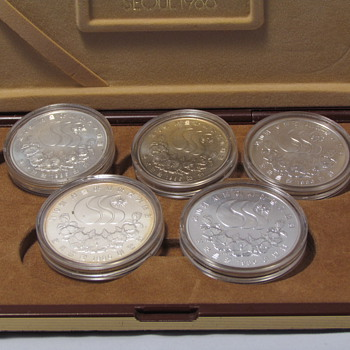 Silver coins sale,1986 Seoul Asian Olympic Games 4 Silver 90% coin Set
