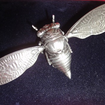 "Art Deco/Art Nouveau ""Flying"" Sterling Silver Cicada Brooch - Fine Jewelry"