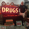 1920's Double-Sided Porcelain Sign with DRUGS neon.