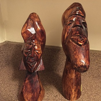 Hand carved wood African Busts - Fine Art