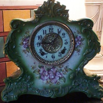 Porcelain Ansonia Mantle Clock  - Clocks