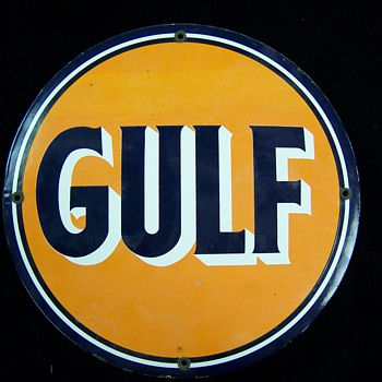 "GULF     12 ""    Dia Single Sided  Sign - Signs"