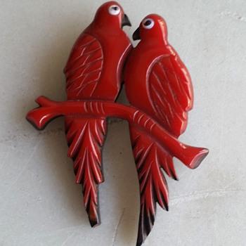 Red lovebirds - are they bakelite? - Costume Jewelry