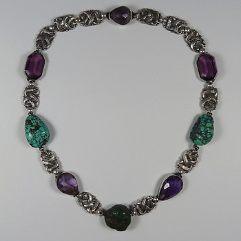 Arts & Crafts Silver Amethyst & Turquoise Necklace attr. Amy Sandheim