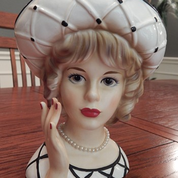 Gorgeous lady head vase, black & white criss-cross dress - Mid-Century Modern