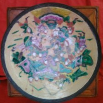 Large Antique Chinese Qing crackle glaze porcelain hand painted enamels charger - Pottery
