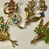 Vintage flower bouquets brooches