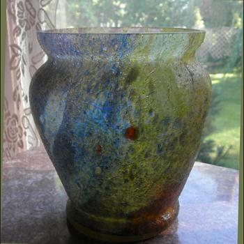 """A Czech """"Sandpaper"""" Vase - Up Close & yet Far, Far Away - Art Glass"""