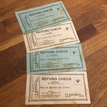 The T. EATON Co. Limited, Toronto Refund Checks