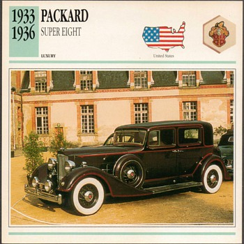 Vintage Car Card - Packard Super Eight - Cards