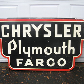 1920/30's Porelain 2 sided Art Deco Chrysler Plymouth Fargo  7ftx44inch   - Signs