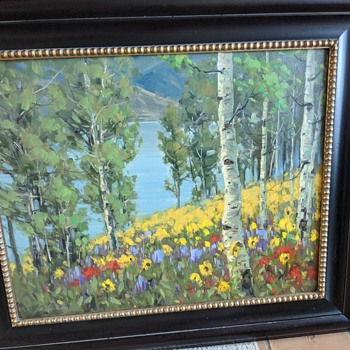 "Beautiful Oil Painting Signed by Unknown Artist named ""Lily Pond Trees"" - Fine Art"