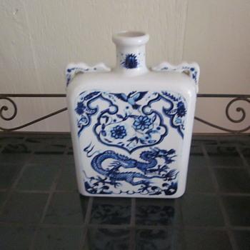 Blue White  Dragon Flat Vase - Asian